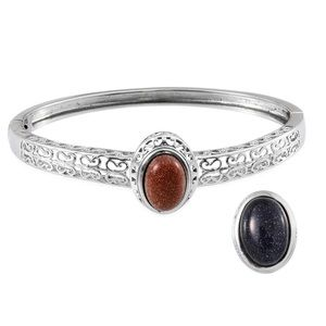 Jewelry - Blue and Brown Goldstone Interchangeable Bangle